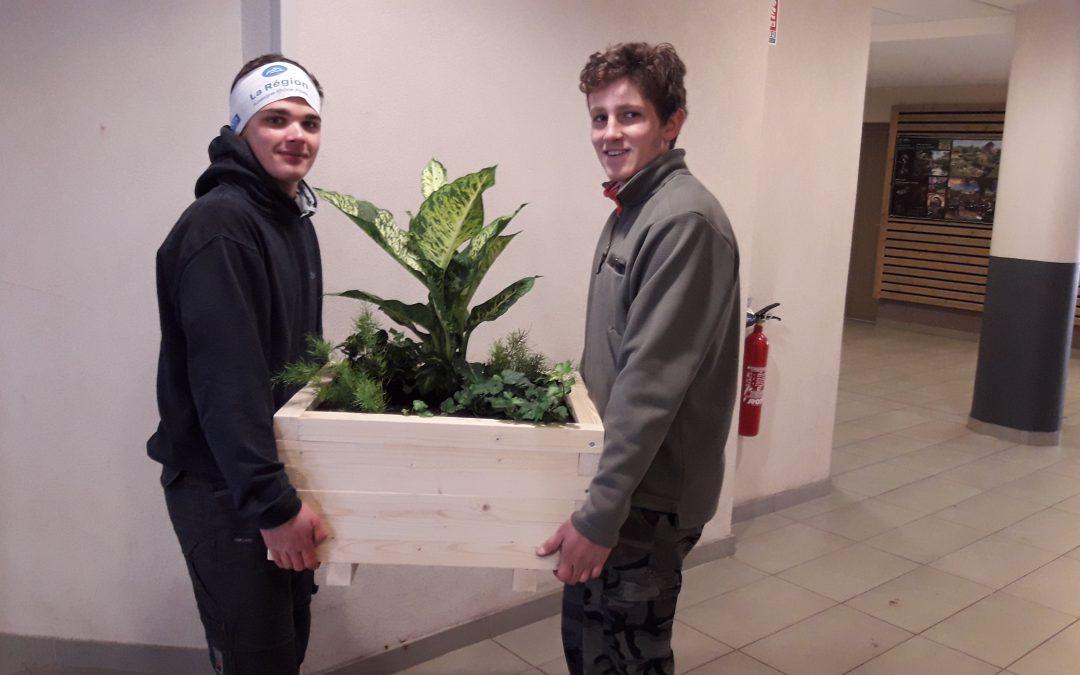 Nouvelles jardinières réalisées par les élèves de 1ère Pro